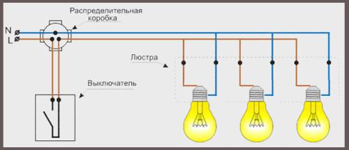 схема люстры 1кл выключатель