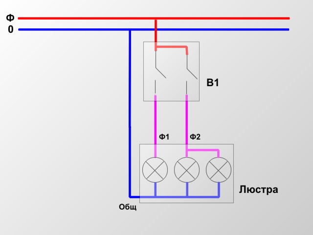 схема люстры 2кл выключатель